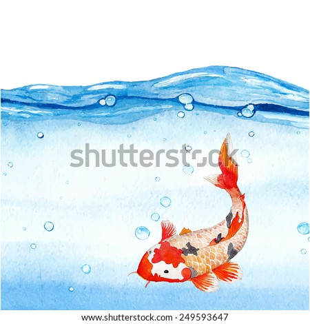 Watercolor rainbow carp in clear water. Hand drawn natural artwork. Vector illustration  - stock vector