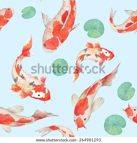 Watercolor rainbow koi carp pattern. Seamless oriental texture with water Lily leaves and hand drawn fishes. Underwater wildlife repeating background in vector. Artistic illustration - stock vector