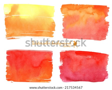 Watercolor red and orange banner - stock vector