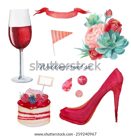 Watercolor Red color wedding style set.  Isolated objects: bride bouquet with roses, succulent, peony, red shoes, wine glass, berry dessert, flag, ruby set, ribbon. Hand painted modern trendy set.  - stock vector
