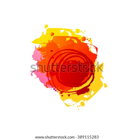 Watercolor red colors spot. Abstract vector template. Frame with space for text. Grunge blob. Artistic drawn grunge background. Paint texture spot. Vector Ink splash. Summer and autumn grungy spot. - stock vector
