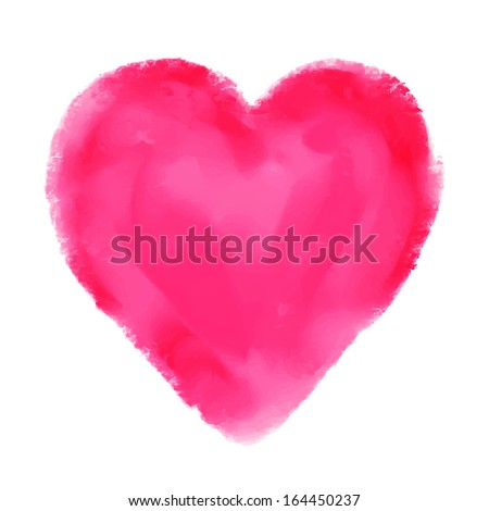 Watercolor red heart isolated on white background. Holiday Valentines day card. Hand painting - vector - stock vector