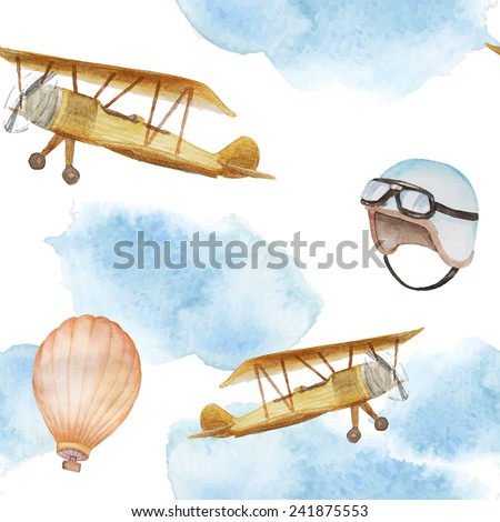 Watercolor retro airplane in clouds and balloon pattern . Vintage seamless texture with hand drawn illustrations in vector - stock vector