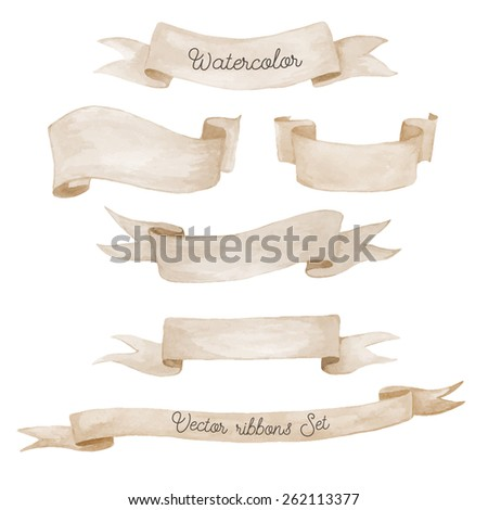 Watercolor ribbons set. Hand drawn stripes or banners for text.  Watercolor design elements isolated objects. - stock vector