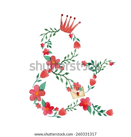 Watercolor royal floral monogram & in vector. Addition to fairy tale alphabet set - stock vector