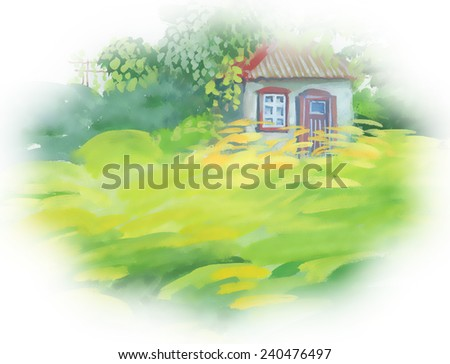 Watercolor rural house in green landscape on white background vector illustration - stock vector