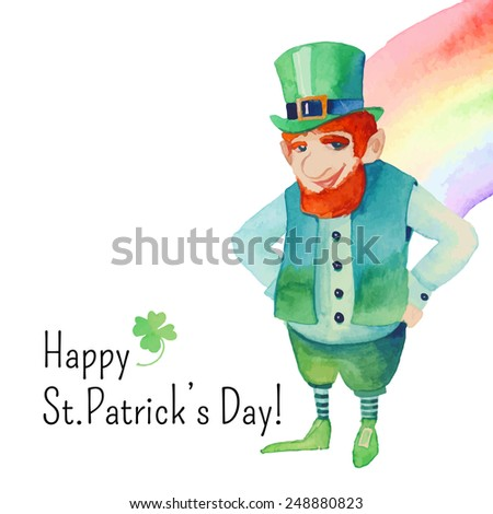 Watercolor Saint Patrick's Day card. Hand drawn artistic design with leprechaun, rainbow and clover shamrock. Cartoon holiday illustration in vector - stock vector