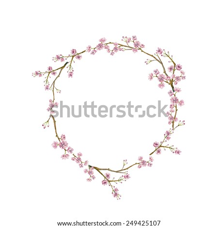 Watercolor sakura wreath. Natural round frame with blossom cherry tree branches. Hand drawn japanese flowers illustration on white background - stock vector
