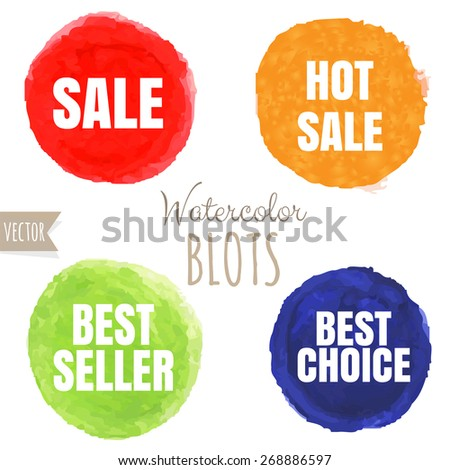 Watercolor Sale Blobs, Vector Illustration - stock vector