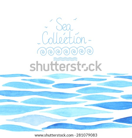 Watercolor sea background made in vector. - stock vector