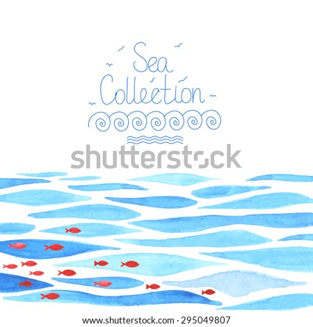 Watercolor sea background with red fish. All object made in vector. Each one is separately. - stock vector