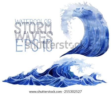 Watercolor sea. Deep blue storm waves. Tsunami. Vector design elements - stock vector