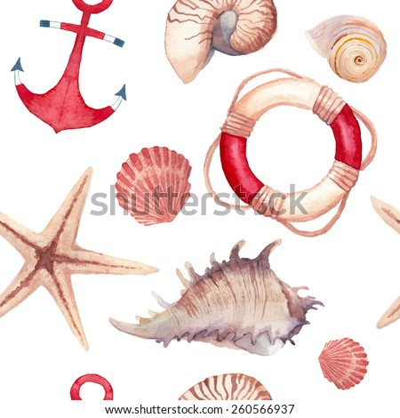 Watercolor sea shells and stars pattern. Seamless texture with hand painted oceanic life objects: starfish, shells, lifebuoy ring, anchor. Vector nautical background - stock vector