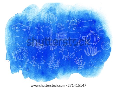 Watercolor sea texture. Vector background. Sea animals. Blobs, stain, paints blot. Linear Background with watercolor stains.  - stock vector