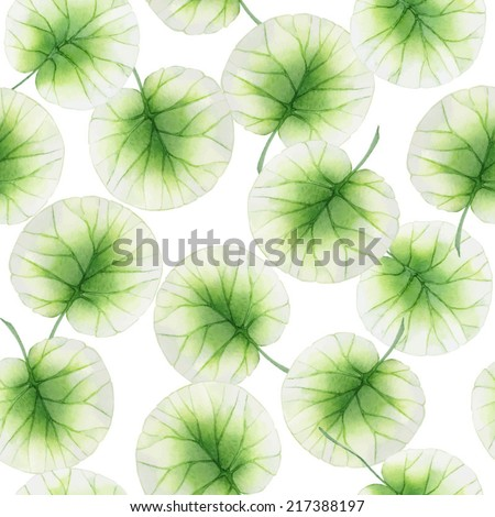 Watercolor Seamless floral pattern with lotus leaves  - stock vector
