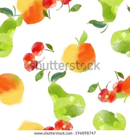 watercolor seamless fruits  pattern of apple, cherry and pear on a white background  - stock vector