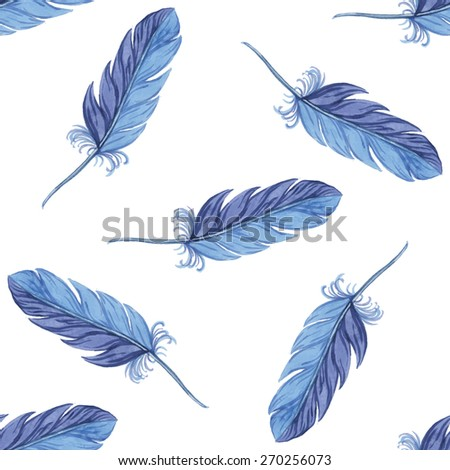 Watercolor seamless pattern feathers. Vector illustration - stock vector