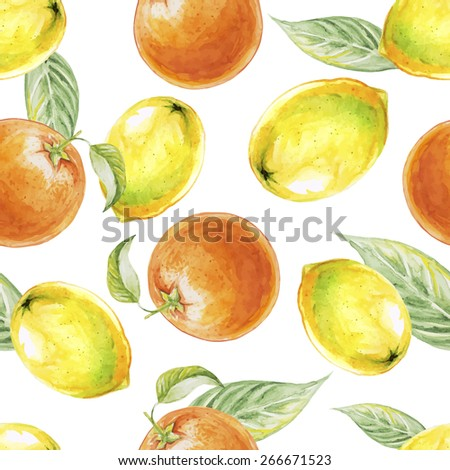 Watercolor seamless pattern of lemon and orange fruits. Vector illustration of citrus fruits. Eco food illustration - stock vector