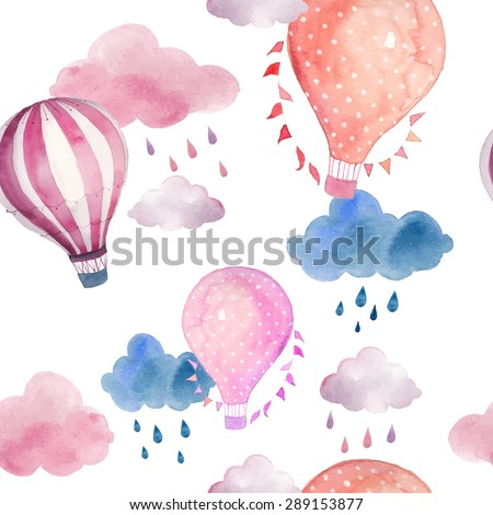 Watercolor seamless pattern with air balloon and clouds. Hand drawn vintage collage illustration with hot air balloon, flag garlands, abstract pastel clouds and rain drops. Vector kids texture - stock vector