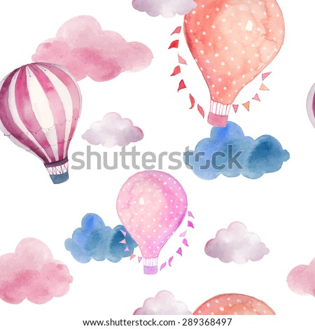 Watercolor seamless pattern with air balloon and clouds. Hand drawn vintage collage illustration with hot air balloon, flag garlands, abstract pastel clouds. Vector wallpaper - stock vector