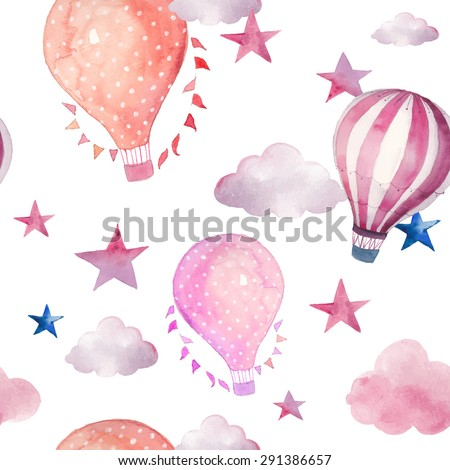 Watercolor seamless pattern with air balloon and clouds. Hand drawn vintage collage illustration with hot air balloon, flag garlands, abstract pastel clouds and stars. Vector wallpaper - stock vector