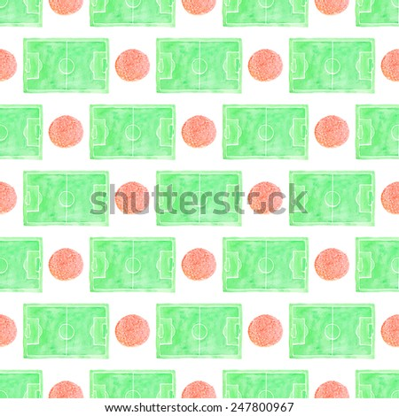 Watercolor seamless pattern with ball and football field on the white background, aquarelle. Vector illustration. Hand-drawn decorative element useful for invitations, scrapbooking, design. - stock vector