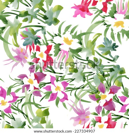 Watercolor seamless pattern with flowers and leaves on white background vector illustration - stock vector