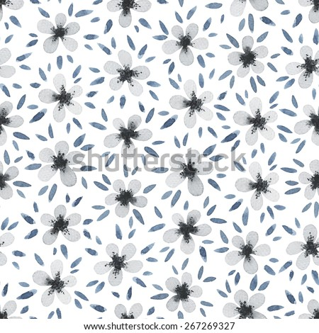 Watercolor seamless pattern with little gray flowers. Hand drawn abstract flowers, fashion modern background. Greeting card. Vector illustration. - stock vector
