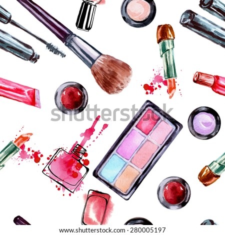 Watercolor seamless pattern with  make up artist objects: lipstick, eye shadows, brushes, nail polish. Vector illustration. - stock vector