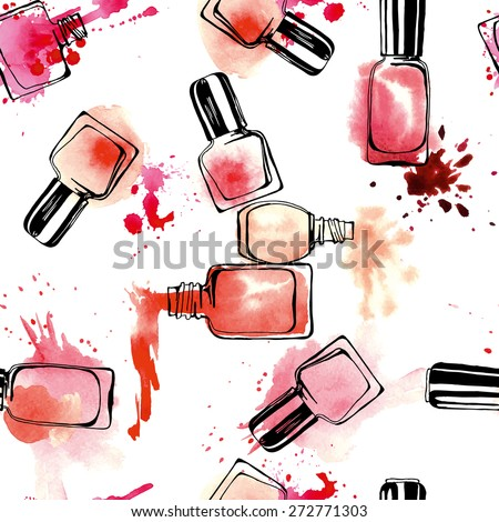 Watercolor seamless pattern with nail polish. Vector illustration. - stock vector