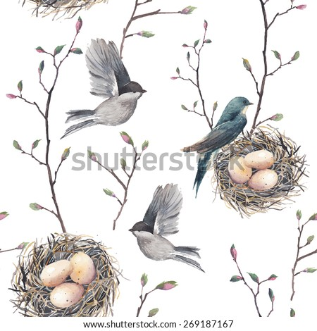 Watercolor seamless pattern with nest, birds and tree twigs. Vector hand drawn spring background. Vintage wallpaper with swallow and eggs - stock vector