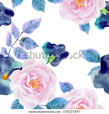 Watercolor seamless  pattern with roses and violets. Background for web pages, wedding invitations, save the date cards. - stock vector