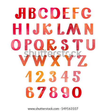 Watercolor set numbers and letters - vector - stock vector