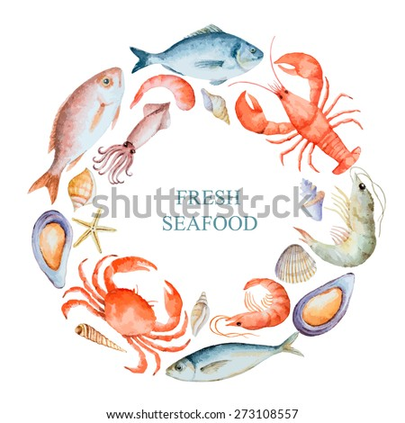 Watercolor set of seafood from lobster, crab, fish, squid, octopus, shrimp, shells on a white background for your menu or design, vector illustration. - stock vector