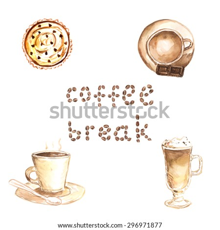 Watercolor set of 3 types of coffee with cupcake. Template for COFFEE BREAK banner made of coffee beans.  - stock vector