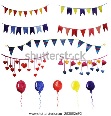 Watercolor set vintage garlands and balloons for party and wedding decoration. Vector design elements isolated on white background. Eps10. - stock vector