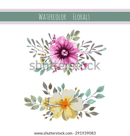 Watercolor set with flowers, foliage and branch.Vector illustration  - stock vector