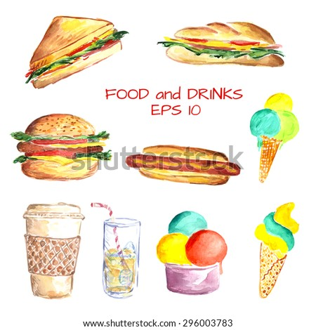 Watercolor set with food and drinks: fast food as hamburger, hotdog, classic and panini sandwich, coffee to go, glass with cocktail and ice cream, Vector illustration. Isolated objects. - stock vector