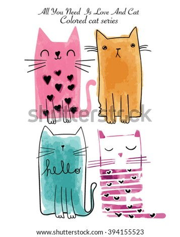 watercolor sketch cat series with colored - stock vector