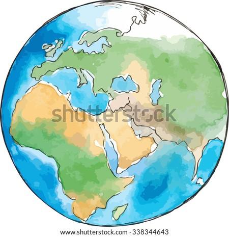 Watercolor sketch earth vector - stock vector