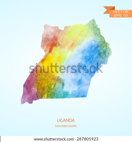 Watercolor sketch map of Uganda isolated on background. Vector version - stock vector