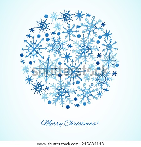 Watercolor snowflakes background. Vector illustration - stock vector
