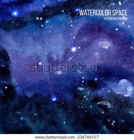 Watercolor space texture with glowing stars. Cosmic background with paint strokes and swashes. Vector illustration. - stock vector