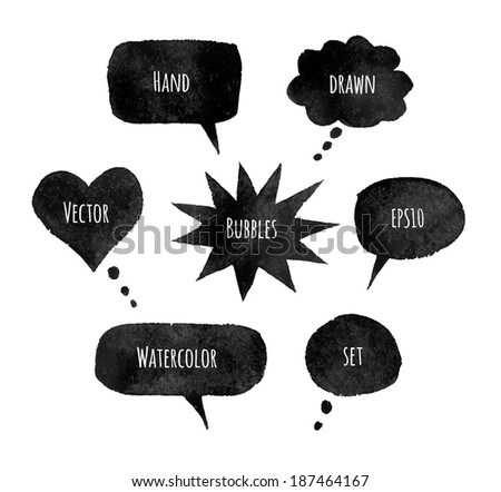 Watercolor speech bubbles. EPS 10. Isolated. - stock vector