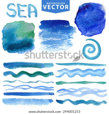 Watercolor splash,brushes,stains,spot,textures  set.Summer Sea,ocean wave,Light blue,cyan color.Watercolor summer.Hand painting design template.Blur vector,background.Holiday,vacation.Artistic strips - stock vector