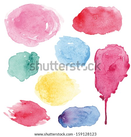 Watercolor splashes set in vector - stock vector