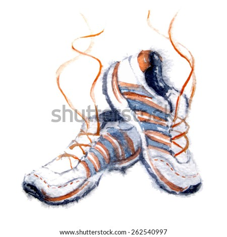 Watercolor sport shoes. Vector - stock vector