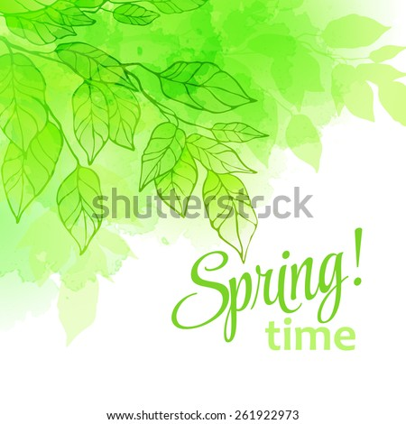 Watercolor spring leaves. Vector illustration EPS 10 - stock vector