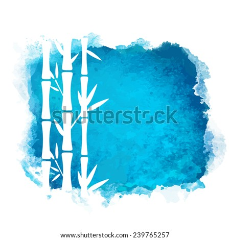 Watercolor square paint stain and bamboo trees closeup white silhouettes. Nature icon isolated on white background. Abstract art. Logo design  - stock vector