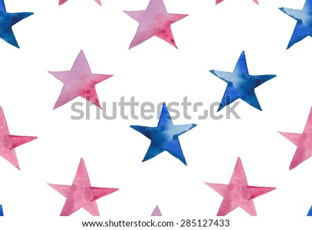 Watercolor stars seamless pattern. Hand drawn pink and blue stars wallpaper modern design. Vector background - stock vector